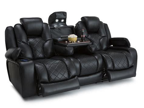 seatcraft prestige black theater media sofa  fold
