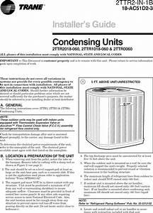 Trane Air Conditioner  Heat Pump Outside Unit  Manual L0903230