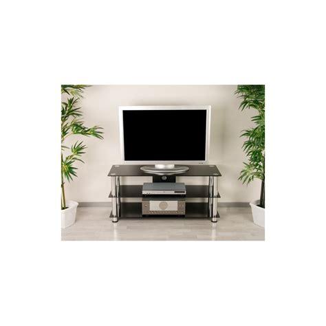 meuble tv hifi design en verre noir cm avec pieds chromes