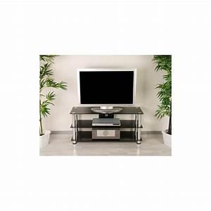 Meuble Tv Hifi : meuble tv hifi design en verre noir 110cm avec pieds chrom s ~ Teatrodelosmanantiales.com Idées de Décoration