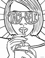Coloring Taco Bell Pages Tacobell Tacos sketch template