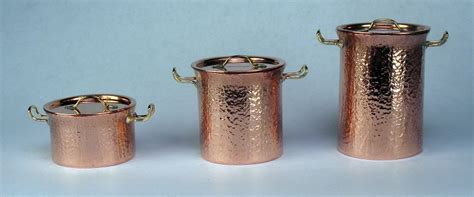 hammered copper pots set