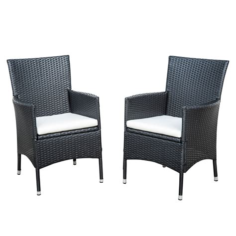 wicker patio chairs outsunny 2pk rattan wicker outdoor dining arm chairs