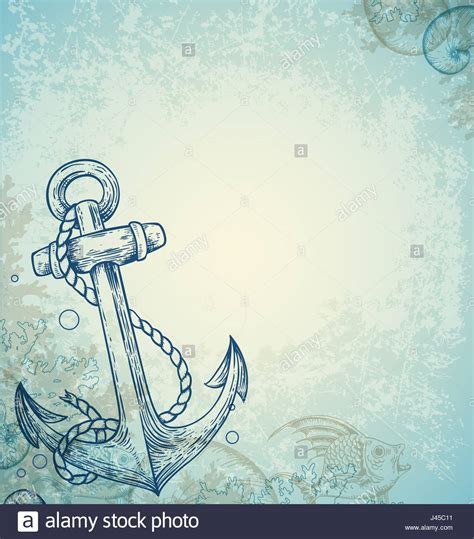 anchor background vintage marine background with anchor and fish
