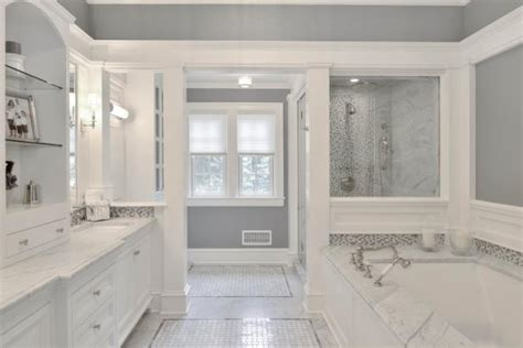 spa  master bathroom boasts gray  white palette hgtv