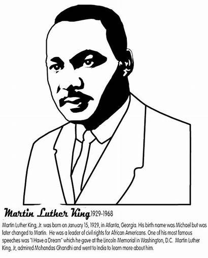 Luther Martin Coloring King Jr Pages Mlk