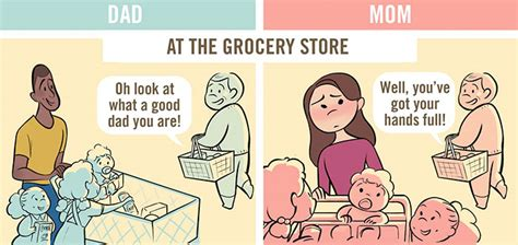 5 Comics Show How Differently Moms And Dads Are Seen In