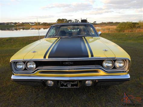 1970 Plymouth Gtx, Lemon Twist With Black Top, Muscle Car