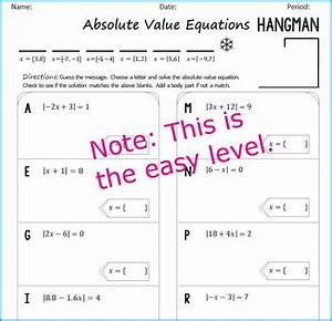 Simplified Letter Format Absolute Value Equations Hangman By Algebra Simplified Tpt