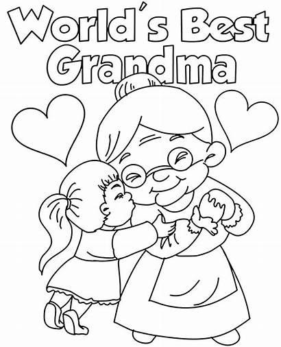 Coloring Card Grandma Cards Printable Pages Greeting