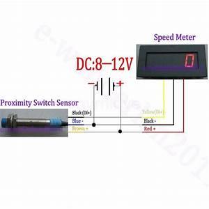 New Blue Led Tachometer Rpm Speed Meter   Proximity Switch Sensor Npn 3 Wire