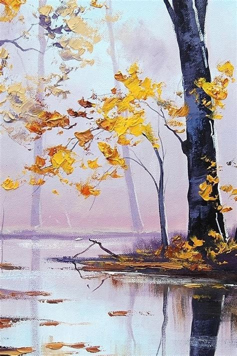 autumn scenery oil painting iphone  wallpaper