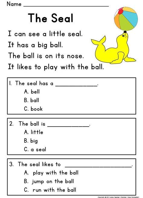 kindergarten reading comprehension passages questions