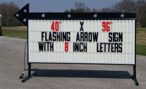 new large roadside business sign arrow lighted