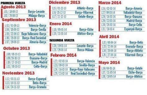 Calendario de la Liga 2013/2014 del FC Barcelona
