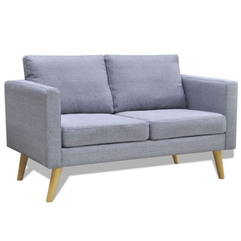 canape calia wide 2 seater polyester fabric sofa in light grey buy sofas