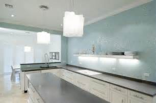 Kitchen With Glass Backsplash Turquoise Glass Tile Backsplash Contemporary Kitchen