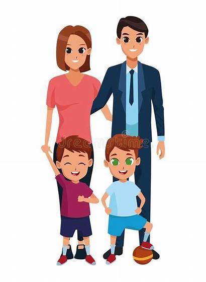 Boys Cartoon Mom Dad Parents Karikaturen Kinder