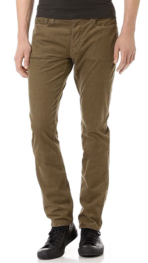 light blue corduroy pants mens paul smith drain pipe light weight corduroy pants in green
