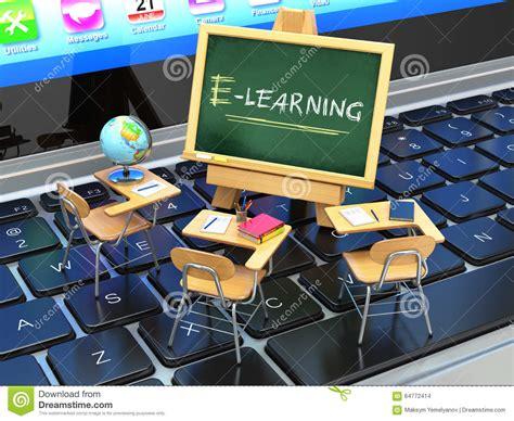3d Man Online School Graduate Concept Royaltyfree Stock