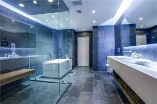 modern master bathroom with slate tile floors drop in