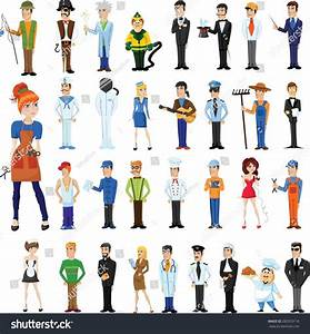 Cartoon Vector Characters Different Professions Stock