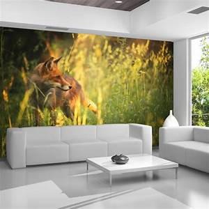 Red, Fox, Wall, Mural, Green, Grass, Nature, Photo, Wallpaper, Bedroom, Home, Decor