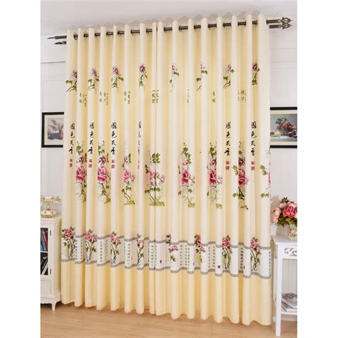 beige floral print polyester country patio door curtains