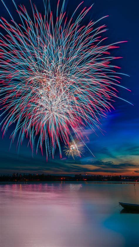 wallpaper celebrations fireworks reflections lake hd