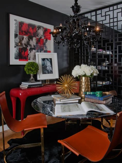 contemporary dining room  dramatic black  red