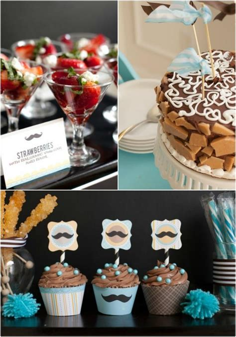 boy baby shower ideas mustache theme spaceships