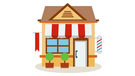 Shop Store Icon With Red And White Striped Awning With