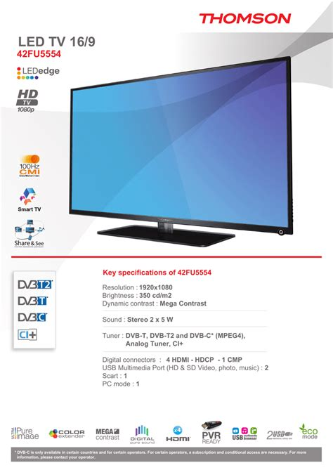 Thomson 42FU5554 LED TV Manualzz