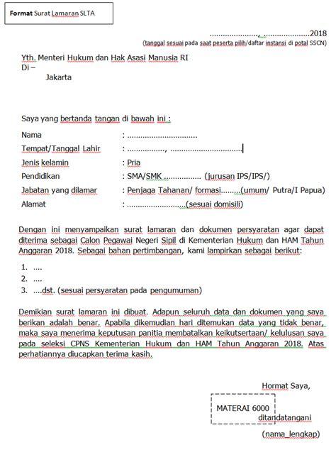 Contoh Surat Pernyataan Cpns Kemenkes by Format Terbaru Contoh Surat Lamaran Pernyataan Cpns
