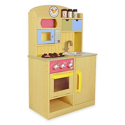 childrens wooden kitchen accessories teamson chef burlywood kitchen with 5392