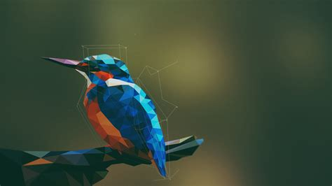 Low Poly Wallpaper 1920x1080 Animals Birds Kingfisher Low Poly Geometry Digital Art Artwork Simple Background
