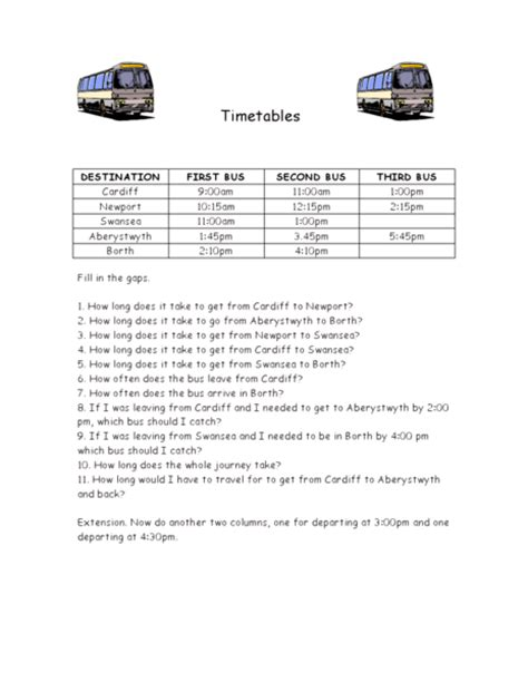 Maths Bus Timetable Worksheets  Multiplication Times Table And Tables On Naplan 2011 Teaching