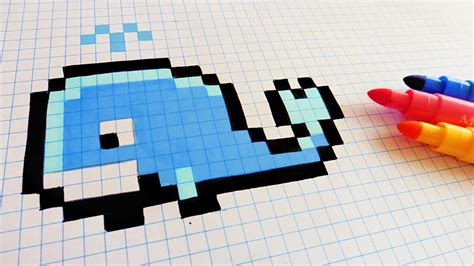 Pencil And In Color Drawn Pixel Art