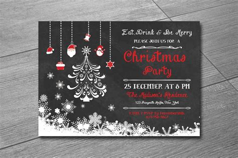 Christmas Invitation Template Holiday Party Invitation
