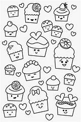 Kawaii Pages Coloring Cupcake sketch template