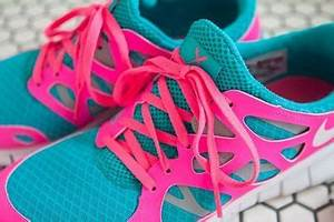 Super bright pink blue neon Nike Free Run 2 For