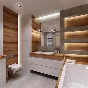salle de bain moderne les tendances actuelles en 55 photos With carrelage adhesif salle de bain avec colonne lumineuse led