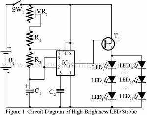 high brightness led strobe using ic 555 engineering projects With lamp pulser circuit