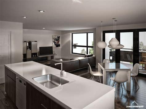 cuisine et salon moderne zone sismique habitation malie condo appartement salon
