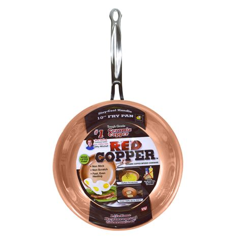 tv red copper  fry pan home kitchen cookware fry pans skillets