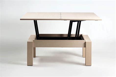 cuisine bois blanc table basse transformable plateau relevable bois de chêne