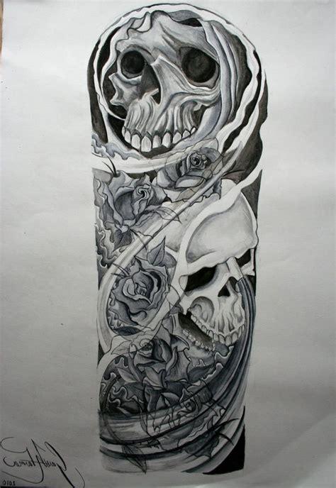 unique sleeve tattoos ideas black  white