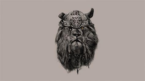 Leo Lion Artwork Helmet Viking Beard Artwork - HD