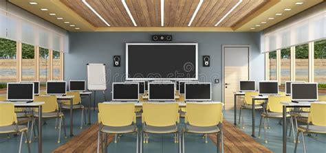 multimedia classroom  student stock illustration