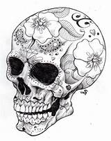 Coloring Skull Sugar Tattoo Printable Adults sketch template